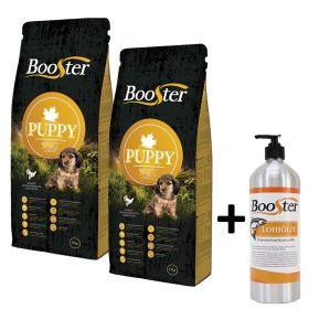 Booster Puppy 2 x 15 kg + Booster Lohiöljy, 950 ML