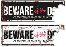 D&D varoituskyltti Beware of the Dog - Valkoinen-sininen
