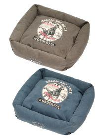 D&D Lifestyle Square Bed Hunt -koiranpeti, sininen, 80 x 80 cm