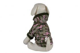 Happy koirantakki Hoodie armeijakuosi-pinkki - Eri kokoja