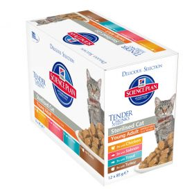 Hill's SP Sterilised Cat Adult Chicken Salmon Trout Turkey selection 12x85g Feline