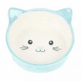 Polka Cat Bowl sininen kissannaama 300ml - 3 kpl