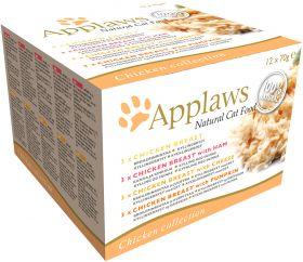 Applaws kissa purkki lajitelma kana 12x70g - 4 pakettia