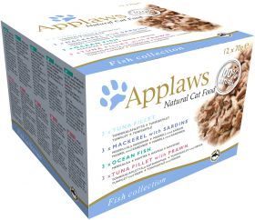 Applaws kissa prk lajitelma kala hyytelössä 12x70g - 4 pakettia