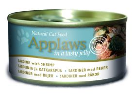 Applaws kissa sardiiini & katkarapu hyytelössä 70g - 24 purkkia