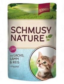 Schmusy Nature´s Menu Kitten lohi, lammas & riisi - 24 pussia