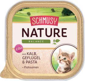 Schmusy Nature Kitten vasikka, siipikarja, pasta - 16 purkkia