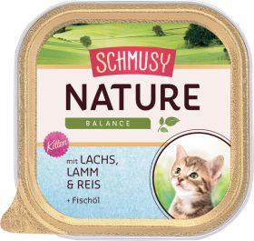 Schmusy Nature Kitten lohi,lammas,riisi 100g folio - 16 purkkia