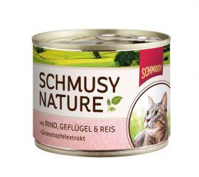 Schmusy Nature´s Menu nauta,kana & riisi 190g - 12 purkkia