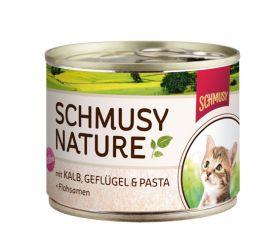 Schmusy Nature´s Menu kitten vasikka,siipikarja, pasta - 12 purkkia