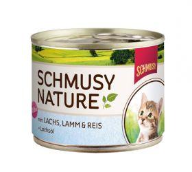 Schmusy Nature´s Menu kitten lohi,lammas&riisi190g - 12 purkkia