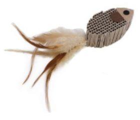 Kissan lelu kala höyhenillä 2 kpl/pkt - 3 pakettia