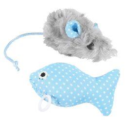 Kissan lelusetti,karvahiiri & tärisevä kala sin.