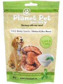 Planet Pet 2 in 1 herkku, kana ja riisiluut 80 g