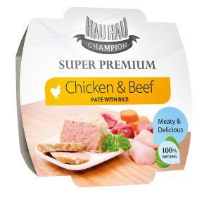 Hau-Hau Super Premium Kana-naudanliha paté riisillä, 100 g