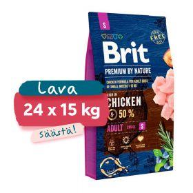 Lava 24 x 8 kg Brit Premium by Nature Adult S, 1-10 kg aikuiset