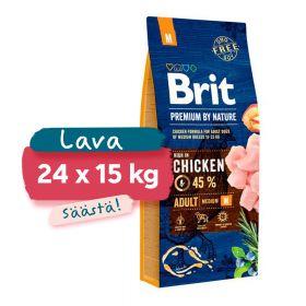 Lava 24 x 15 kg Brit Premium by Nature Adult M, 10-25 kg aikuiset