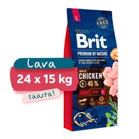 Lava 24 x 15 kg Brit Premium by Nature Adult L, 25-45 kg aikuiset