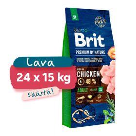 Lava 24 x 15 kg Brit Premium by Nature Adult XL, 45-90 kg aikuiset