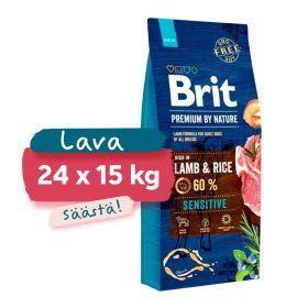 Lava 24 x 15 kg Brit Premium by Nature Sensitive Lamb, herkät koirat