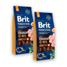 2 x 15 kg Brit Premium by Nature Adult M, 10-25 kg aikuiset
