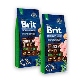 2 x 15 kg Brit Premium by Nature Adult XL, 45-90 kg aikuiset