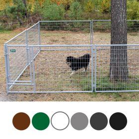 Jämpti Pro Mini sinkitty ja maalattu koiratarha, vaaleanharmaa, 4 x 4 m, korkeus 115 cm