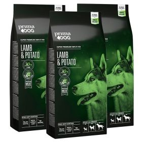PrimaDog Adult All Breeds Lammas-peruna 3 x 10 kg TRIPLATARJOUS